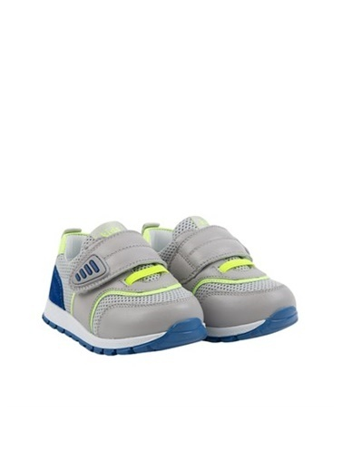 Kids A More Prue Tek Cırtlı Deri Ve Air File Detaylı Erkek Bebek Sneaker  Gri